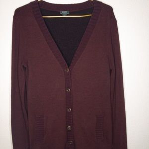 ROOTS Canada Button up cardigan burgundy V neck Lg